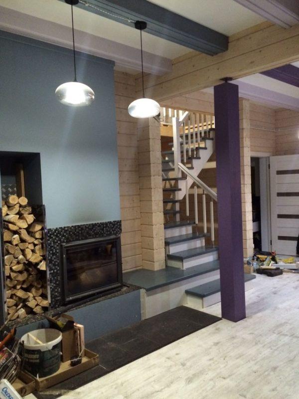 Г образная деревянная лестница на фото